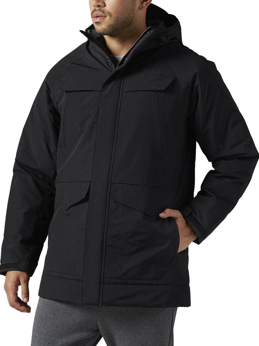 Куртка муж Reebok F MID, цвет: черный. BQ2773. Размер XL (56/58)BQ2773Стильная куртка-парка Reebok Classic