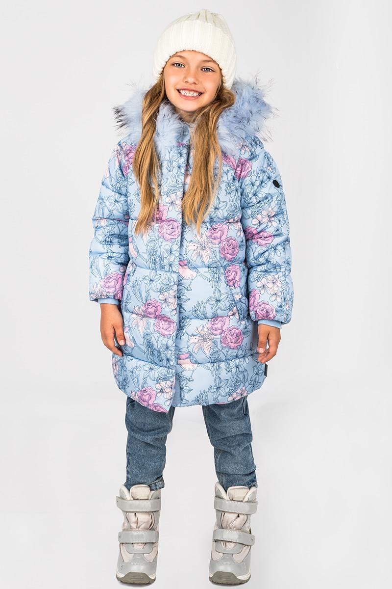 Пальто для девочки Boom!, цвет: голубой. 70473_BOG_вар.1. Размер 92, 1,5-2 года70473_BOG_вар.1