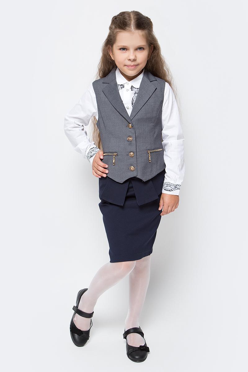 Жилет для девочки Vitacci, цвет: серый. 2173080-02. Размер 1282173080-02Жилет для девочки выполнен из качественного материала. Модель застегивается на пуговицы.