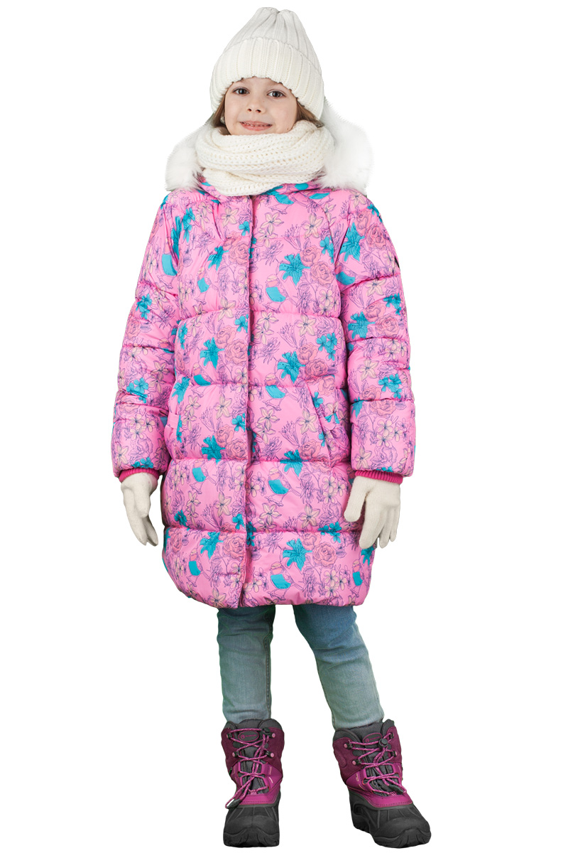 Пальто для девочки Boom!, цвет: розовый. 70473_BOG_вар.2. Размер 98, 3-4 года70473_BOG_вар.2