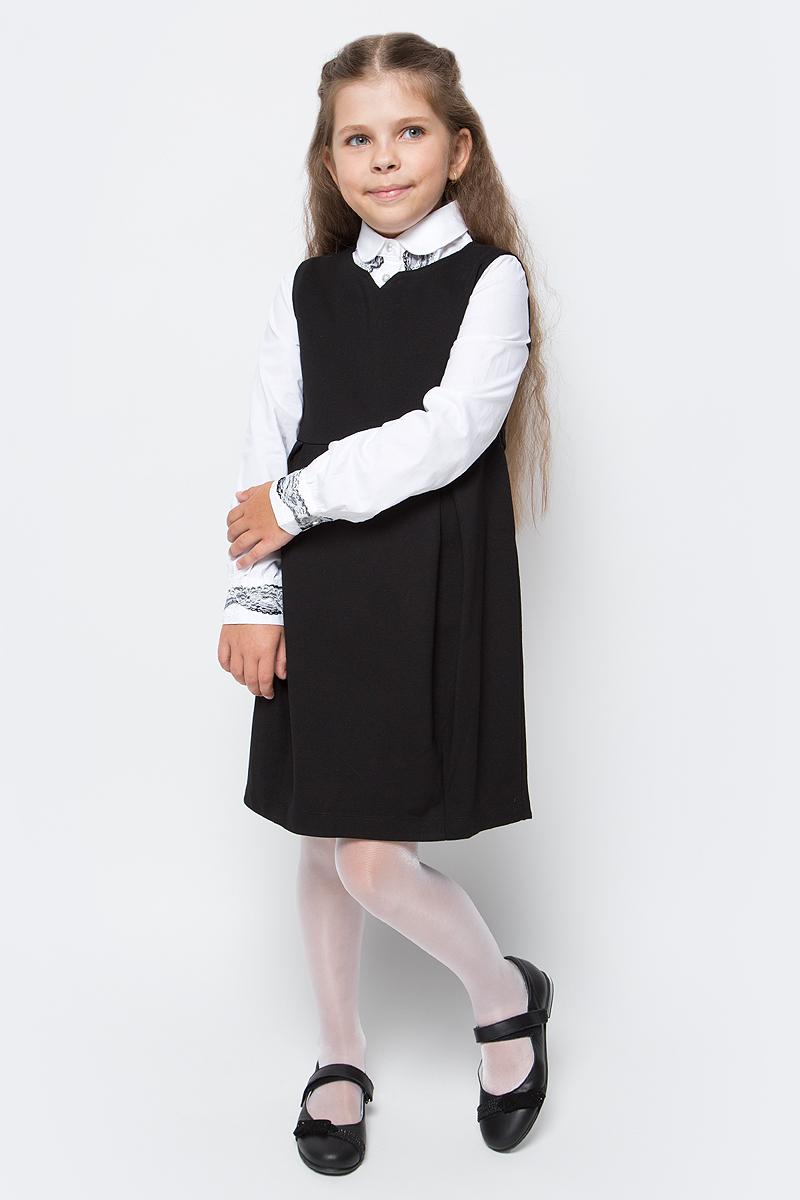 Сарафан для девочки Vitacci, цвет: черный. 2173040-03. Размер 1522173040-03Школьный сарафан для девочки от Vitacci выполнен из вискозы и нейлона с добавлением эластана. Модель без рукавов имеет фигурный вырез горловины и юбку со складками. Сарафан на спинке застегивается на молнию.
