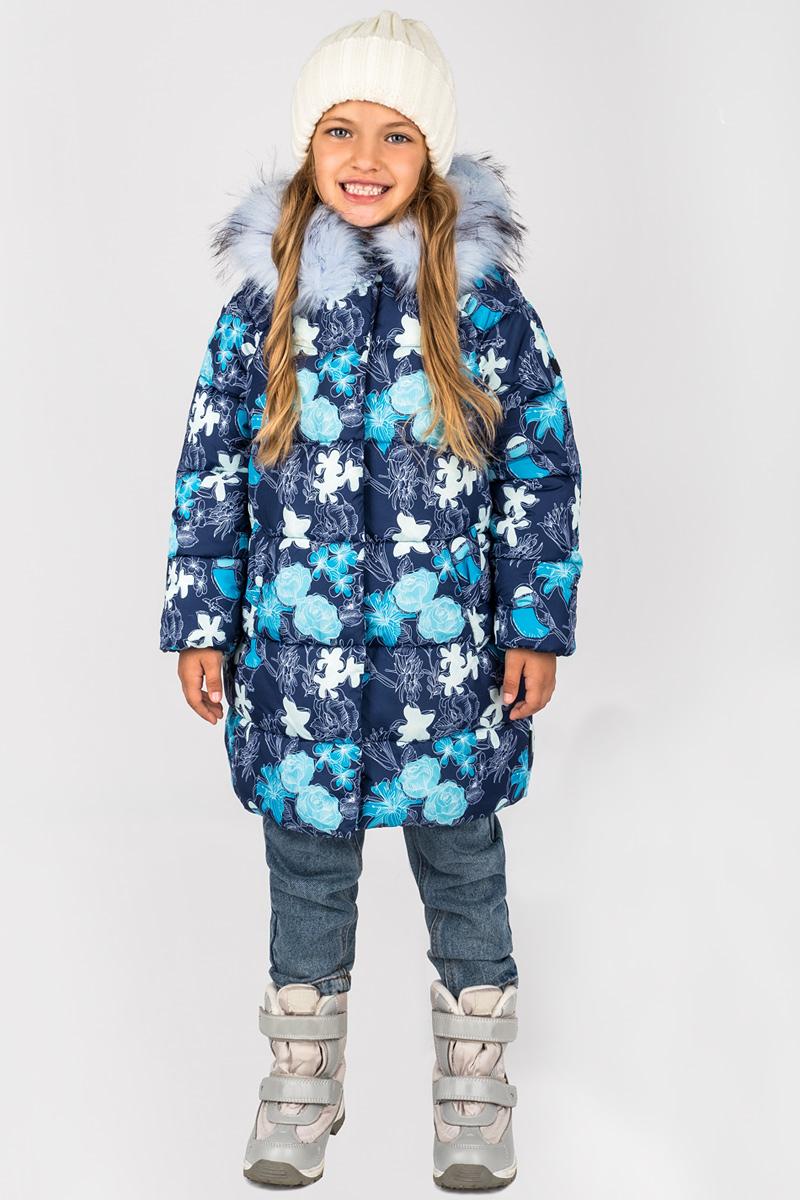 Пальто для девочки Boom!, цвет: темно-синий. 70473_BOG_вар.3. Размер 122, 7-8 лет70473_BOG_вар.3