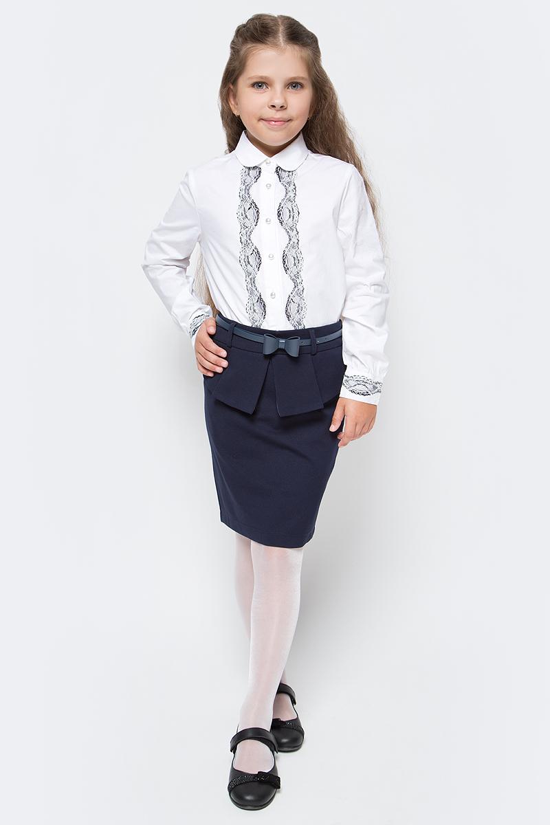 Юбка для девочки Vitacci, цвет: синий. 2173050-04. Размер 1282173050-04Стильная юбка для девочки от Vitacci выполнена из вискозы и нейлона с добавлением эластана. Модель дополнена ремешком с бантиком и баской, застегивается на молнию.