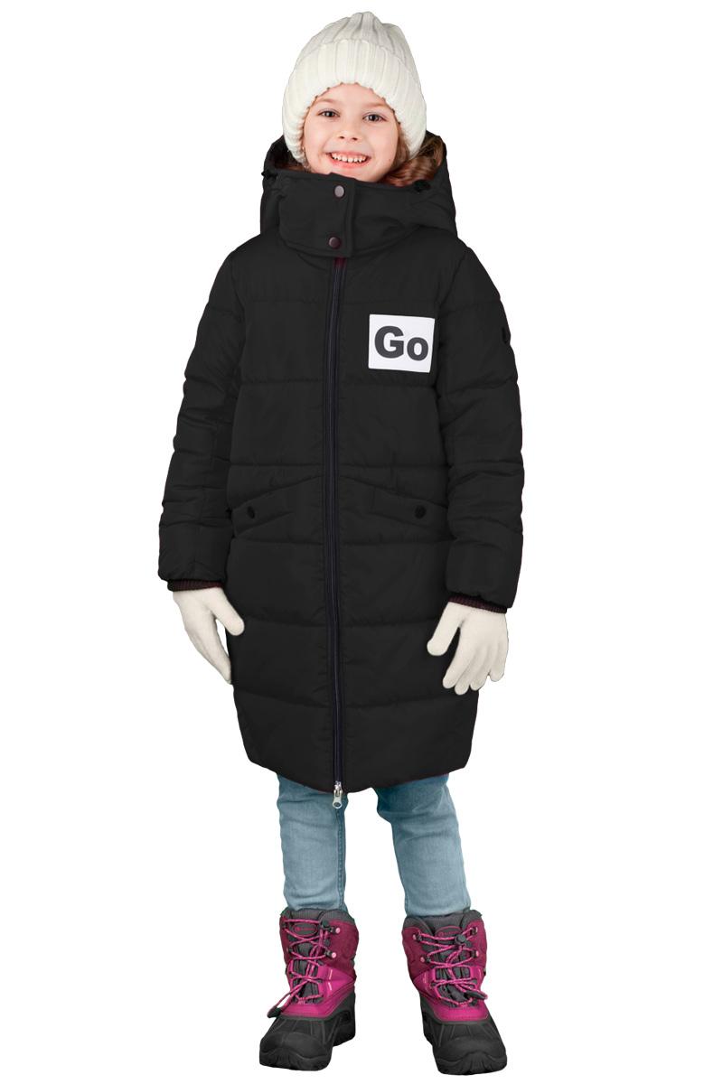 Пальто для девочки Boom!, цвет: черный. 70476_BOG_вар.1. Размер 116, 5-6 лет70476_BOG_вар.1