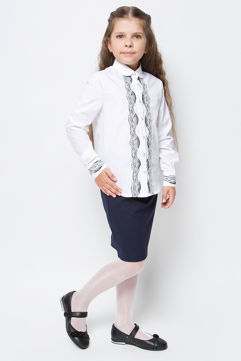 Блузка для девочки Overmoon by Acoola Donna, цвет: белый. 21200260008_200. Размер 12221200260008_200Блузка для девочки Luhta Donna выполнена из высококачественного материала и украшена кружевом. Модель приталенного силуэта с отложным воротником и длинными рукавами застегивается на пуговицы.