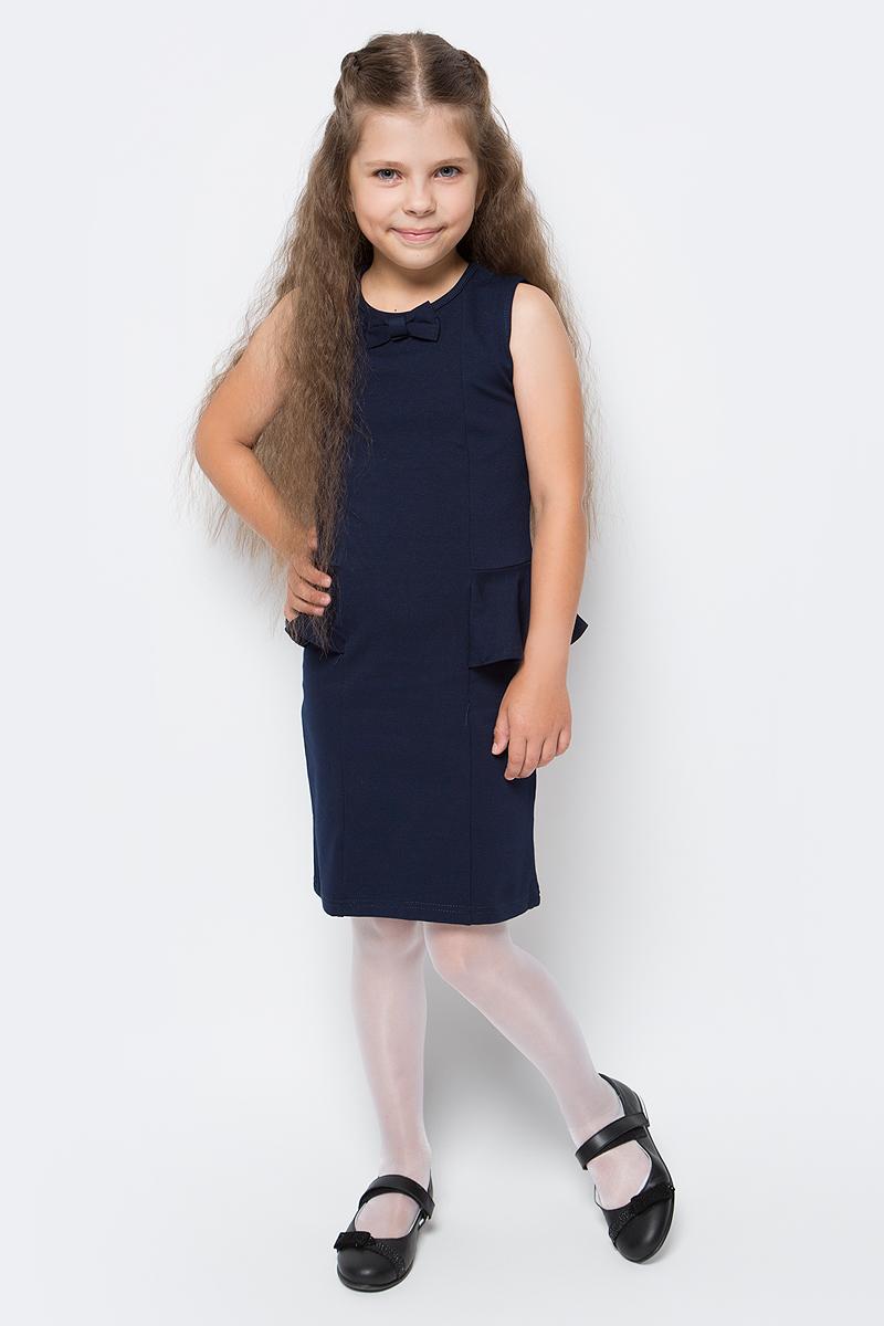 Платье Luminoso, цвет: темно-синий. 728071. Размер 140728071Стильное платье-футляр Luminoso изготовлено из хлопка и полиэстера с добавлением эластана. Модель без рукавов имеет круглый вырез горловины. По бокам платье дополнено воланами, горловина украшена бантиком.