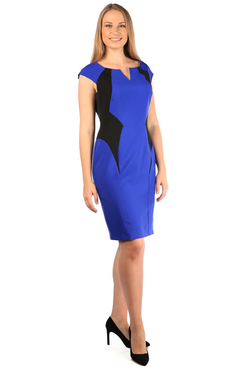 Платье Milton, цвет: синий. WD-2422V. Размер 48WD-2422VПлатье прилегающего силуэта, с короткими рукавами-реглан декорировано фигурными подкройными бочками из черной ткани.
