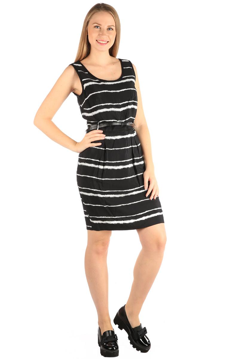 Платье Milton, цвет: черный. WD-2417V. Размер 42WD-2417VПлатье полуприлегающего силуэта, без рукавов, отрезное по линии талии, со съемным ремешком. На юбке по линии талии заложены мягкие складки.