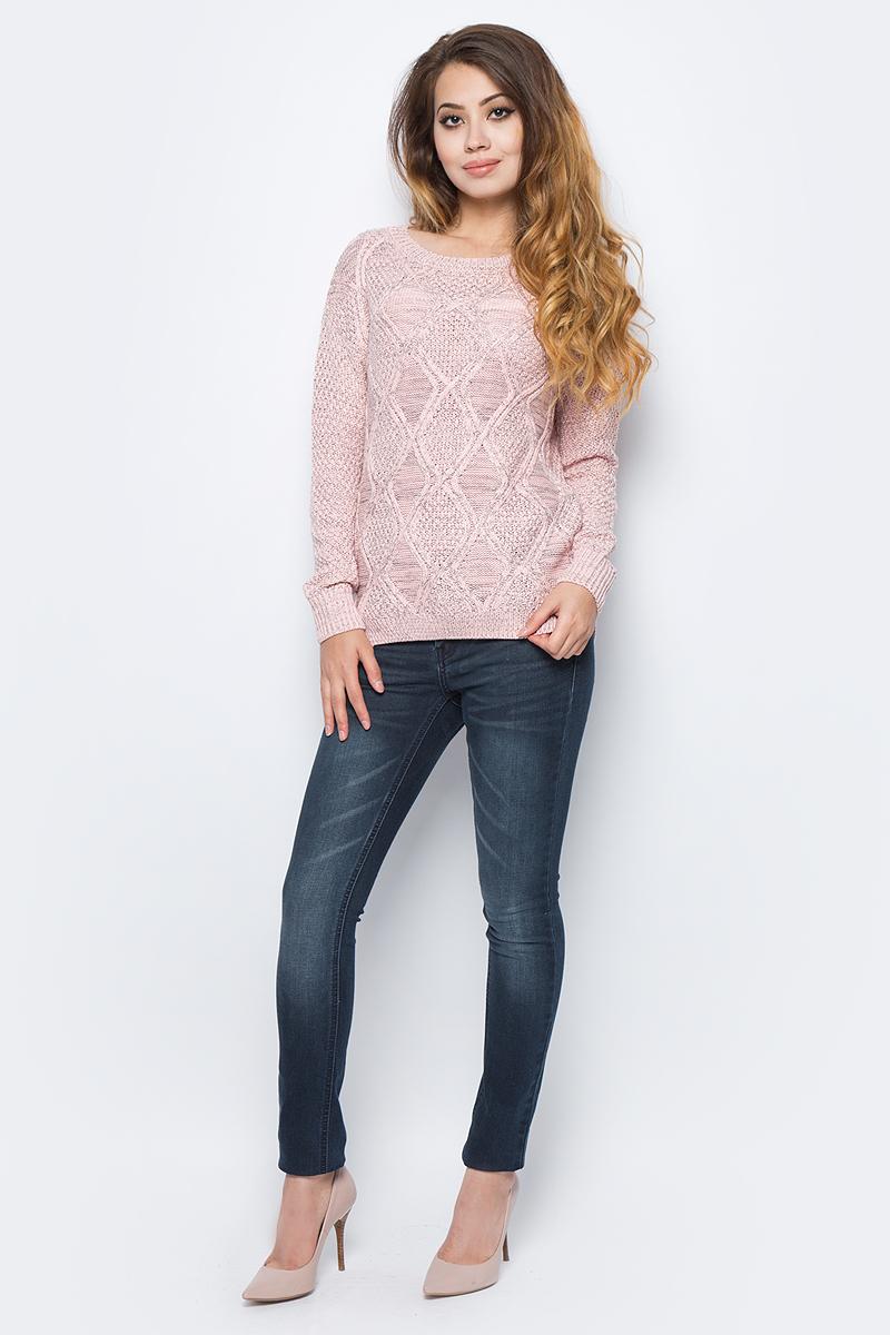 Джемпер жен Sela, цвет: пастельно-розовый меланж. JR-314/2039-7311. Размер XL (50)JR-314/2039-7311