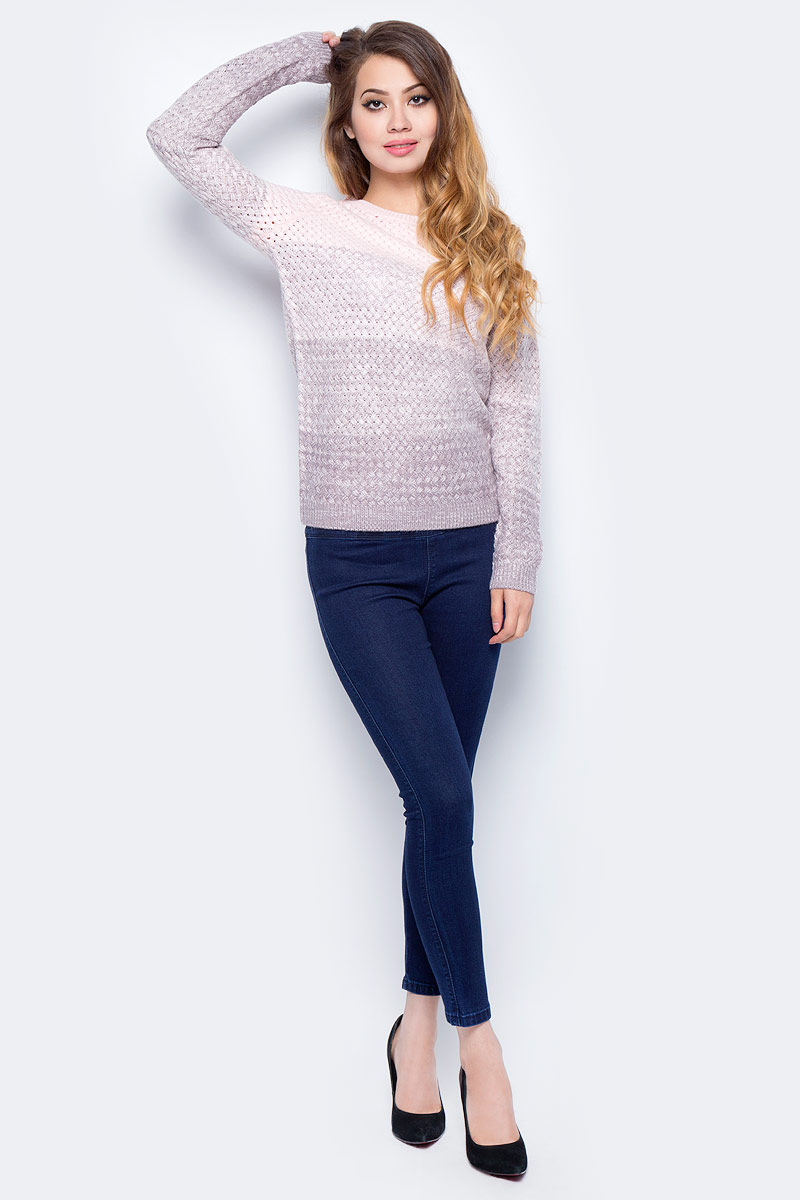 Джемпер жен Sela, цвет: серо-фиолетовый. JR-114/1207-7321. Размер XL (50)JR-114/1207-7321