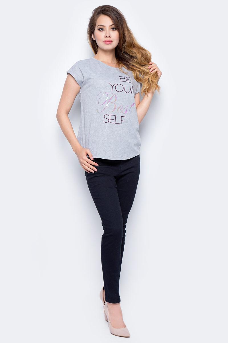 Футболка жен Sela, цвет: серый меланж. Ts-111/954-7351. Размер M (46)Ts-111/954-7351