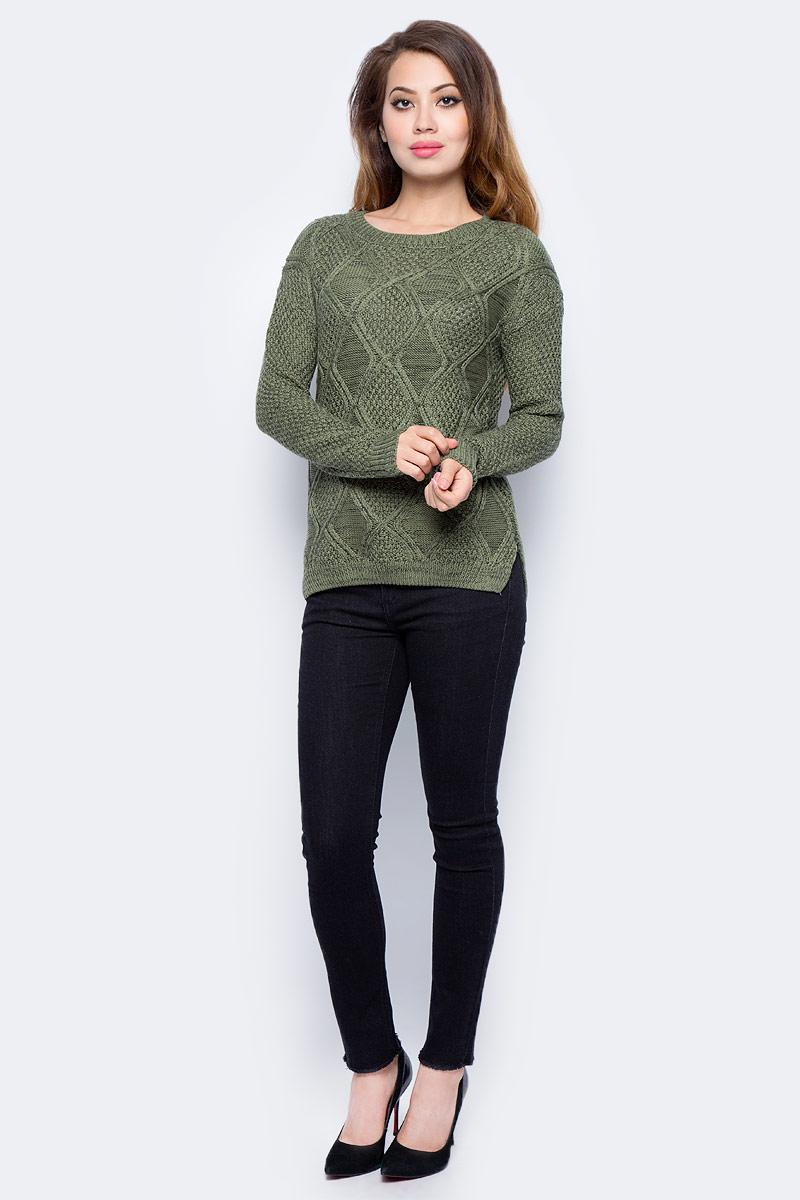Джемпер жен Sela, цвет: серый хаки меланж. JR-314/2039-7311. Размер S (44)JR-314/2039-7311