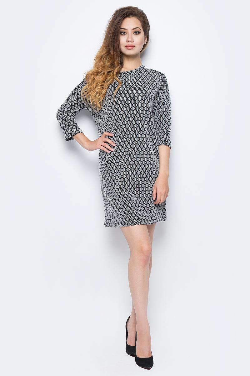 Платье жен Sela, цвет: серый меланж. DK-117/1219-7321. Размер S (44)DK-117/1219-7321