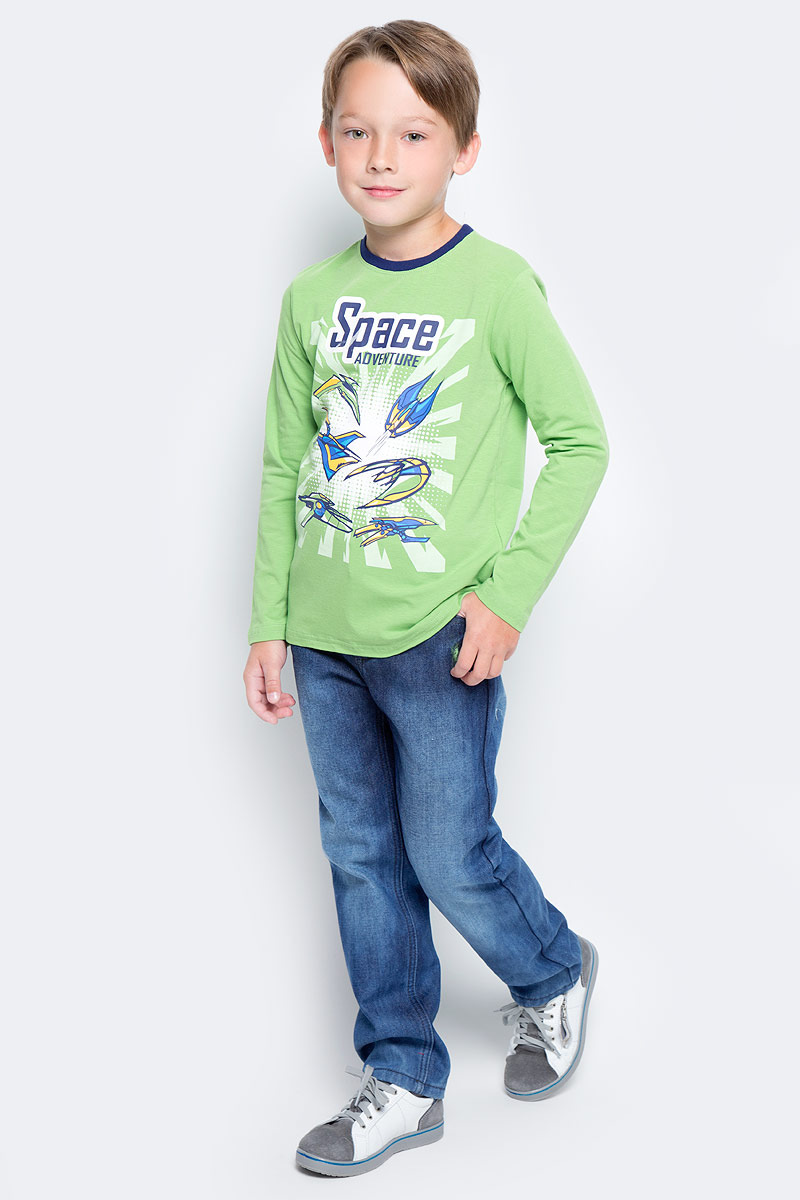 Футболка с длинным рукавом для мальчика PlayToday, цвет: зеленый. 371168. Размер 122371168Футболка с длинным рукавом PlayToday выполнена из эластичного хлопка. Подойдет для домашнего использования и в качестве повседневной одежды. Свободный крой не сковывает движений. Натуральная ткань не раздражает нежную кожу ребенка. Модель дополнена ярким принтом.