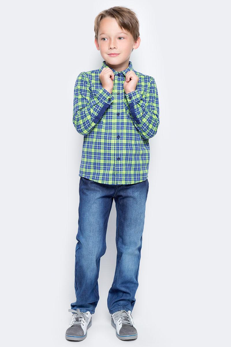 Рубашка для мальчика PlayToday, цвет: синий, зеленый. 371166. Размер 104371166Эффектная рубашка PlayToday с длинным рукавом - отличное решение для повседневного гардероба ребенка. Ткань мягкая и приятная на ощупь, не раздражает нежную детскую кожу. Стиль отвечает всем последним тенденциям детской моды. Рубашка с отложным воротником. Даже в самой активной игре ребенок будет всегда иметь аккуратный вид. Модель дополнена вставками на рукавах.
