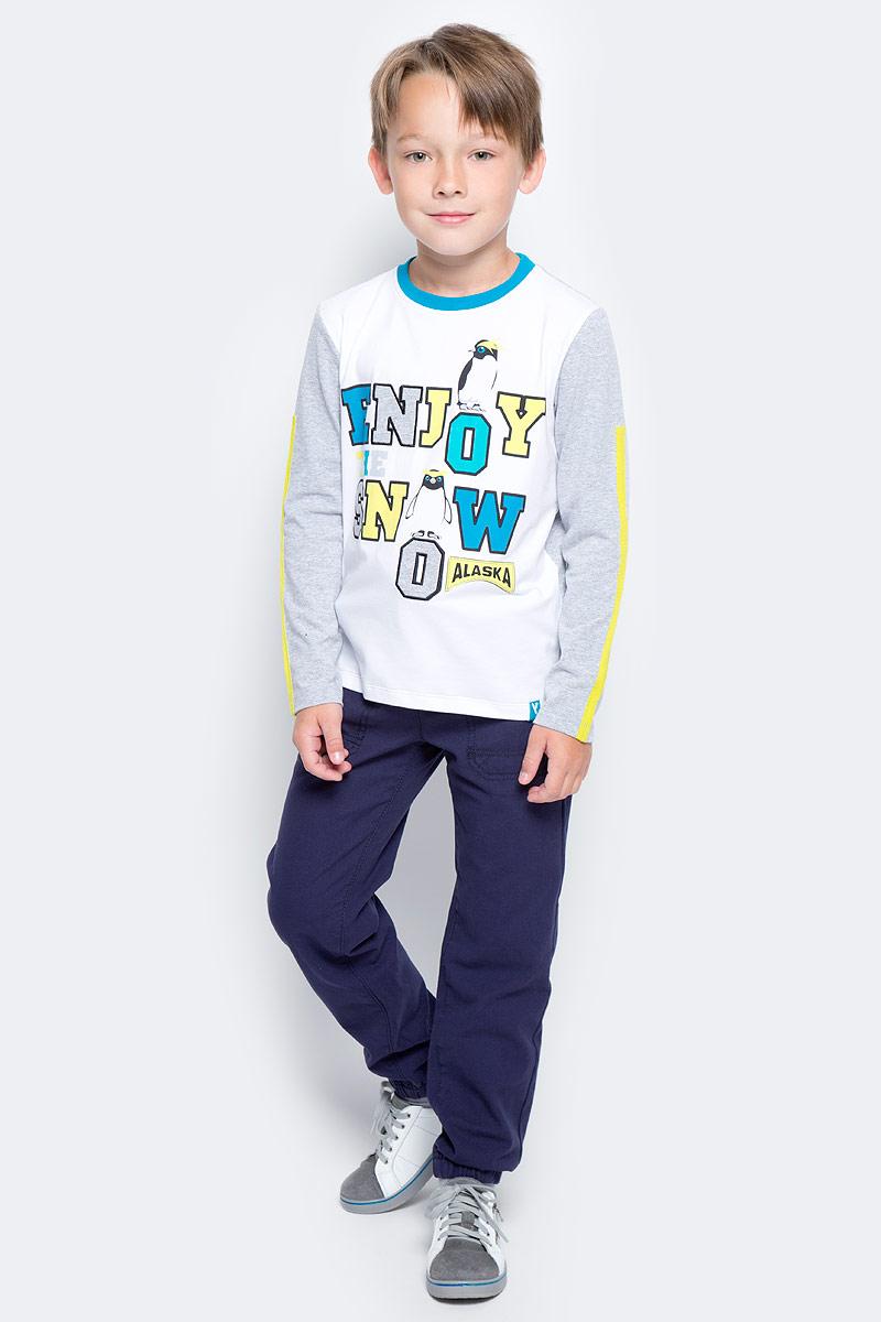 Футболка с длинным рукавом для мальчика PlayToday, цвет: серый, белый. 371115. Размер 128371115Футболка PlayToday выполнена из эластичного хлопка. Модель с длинными рукавами и круглым вырезом горловины оформлена принтом.