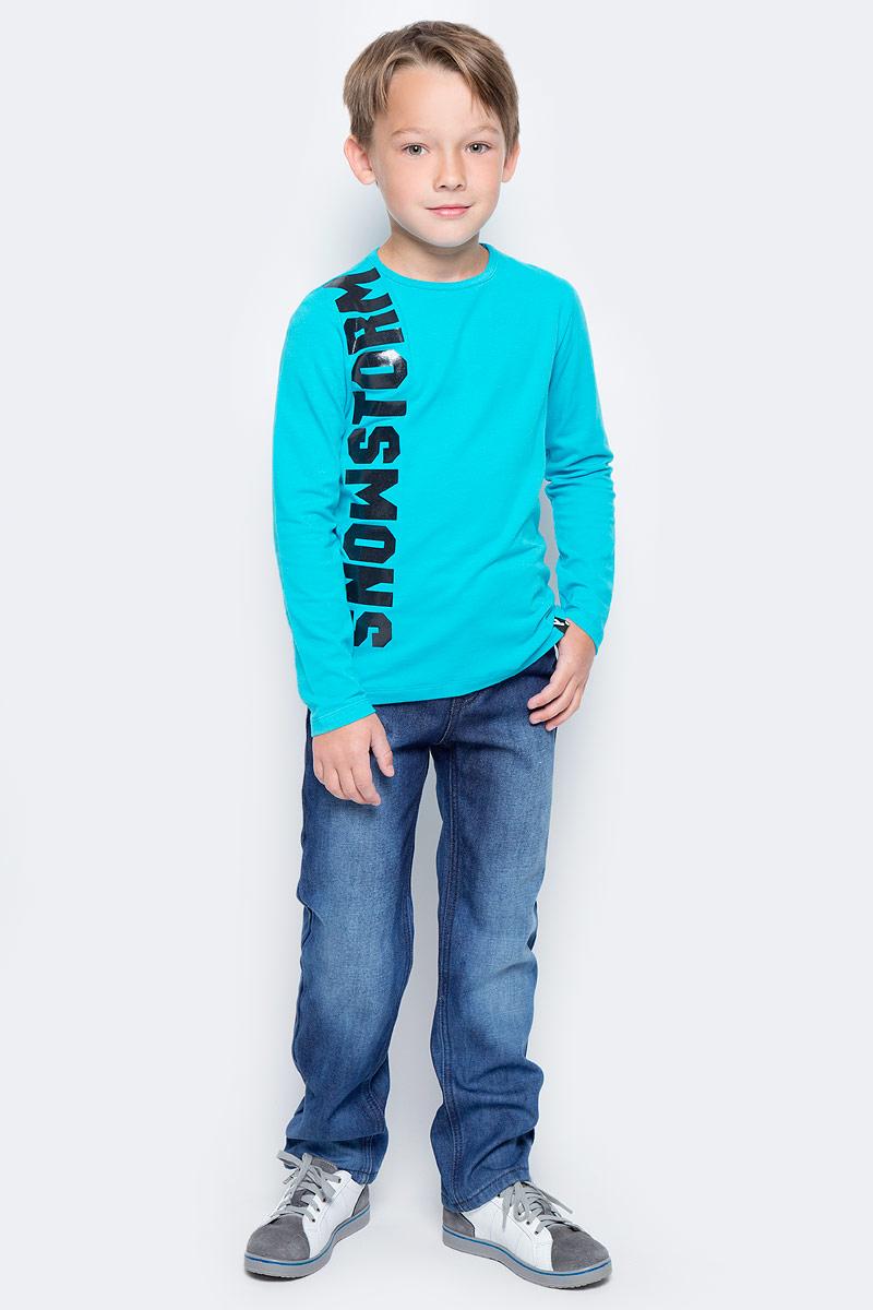 Брюки для мальчика PlayToday, цвет: синий. 371121. Размер 128371121Джинсы PlayToday выполнены из смесовой ткани. В качестве декора использованы потертости. Джинсы пятикарманного кроя застегиваются на пуговицу и ширинку на молнии. Модель со шлевками, при необходимости можно использовать ремень.