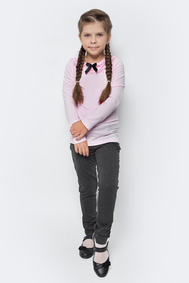 Джемпер для девочки LeadGen, цвет: розовый. G980008716-172. Размер 140G980008716-172Джемпер для девочки LeadGen выполнен из эластичного хлопкового трикотажа. Модель с длинными рукавами и круглым вырезом горловины. Вырез горловины декорирован рюшами и контрастным бантиком.