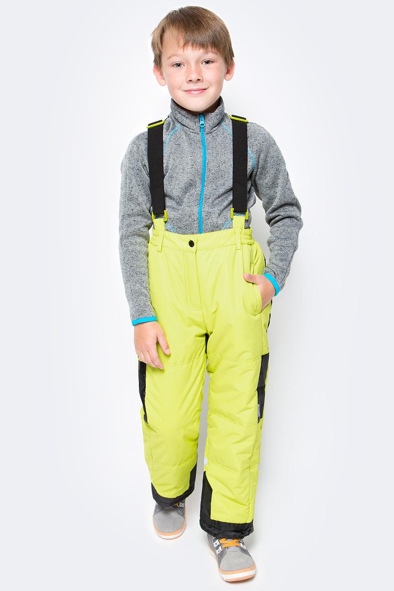 Брюки утепленные для мальчика PlayToday, цвет: желтый, черный. 370002. Размер 110370002Теплые брюки PlayToday выполнены из водонепроницаемой ткани. Модель дополнена регулируемыми лямками. Пояс брюк на широкой резинке. Модель застегивается на молнию и кнопку. Светоотражатели обеспечат видимость ребенка в темное время суток. Низ штанин дополнен специальными манжетами и регулируемыми шнурами-кулисками. Брюки с двумя втачными карманами на липучках.