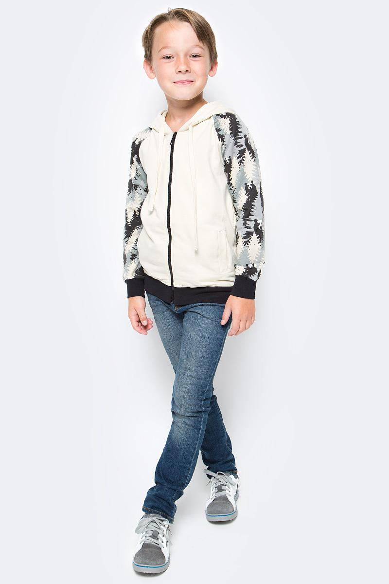 Толстовка для мальчика LeadGen, цвет: серый, бежевый. B617045712-171. Размер 128B617045712-171Толстовка для мальчика LeadGen выполнена из хлопкового трикотажа. Модель с длинными рукавами, капюшоном и карманами спереди застегивается на застежку-молнию.