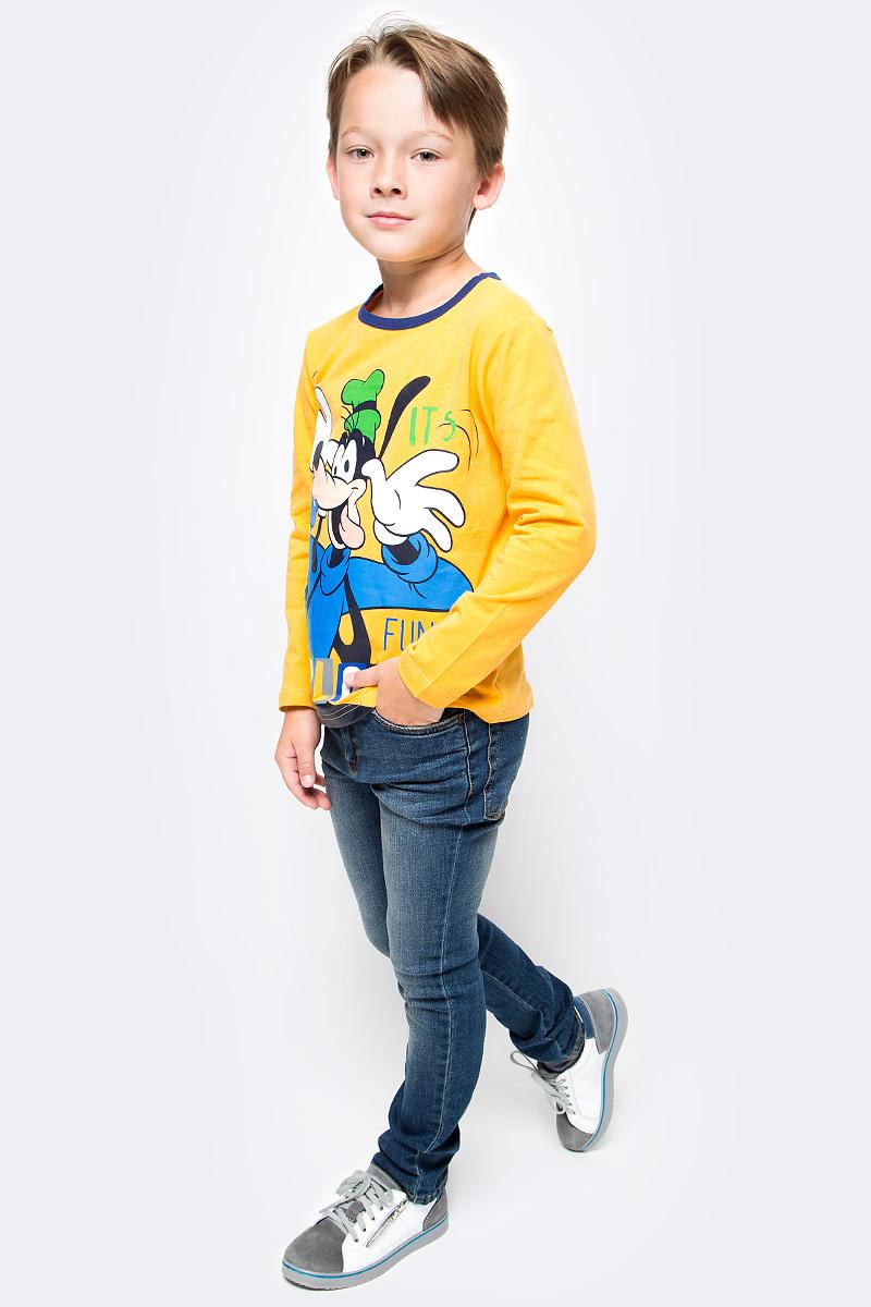 Футболка с длинным рукавом для мальчика PlayToday, цвет: желтый. 571151. Размер 98571151Футболка PlayToday выполнена из эластичного хлопка. Модель с длинными рукавами и круглым вырезом горловины оформлена принтом.