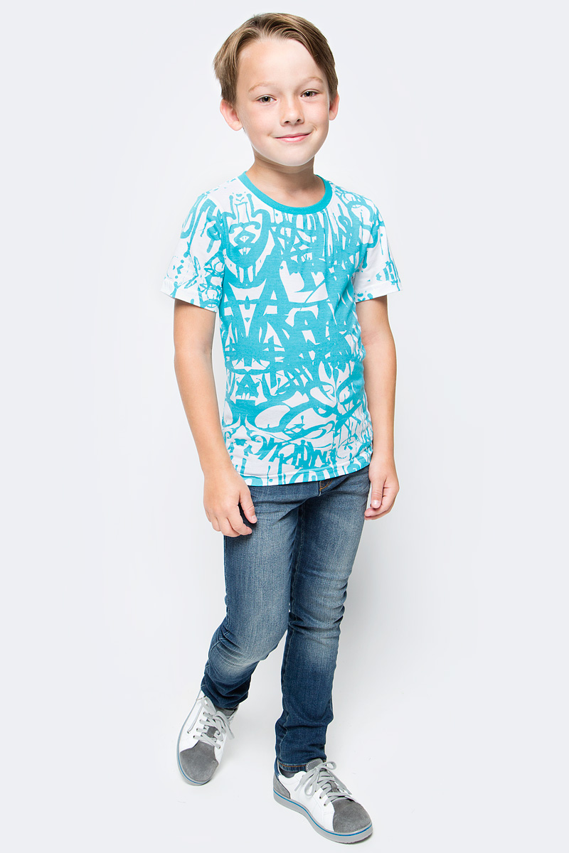 Футболка для мальчика LeadGen, цвет: голубой, белый. B413021801-171. Размер 158B413021801-171Футболка для мальчика LeadGen выполнена из натурального хлопкового трикотажа. Модель с короткими рукавами и круглым вырезом горловины оформлена оригинальным принтом.