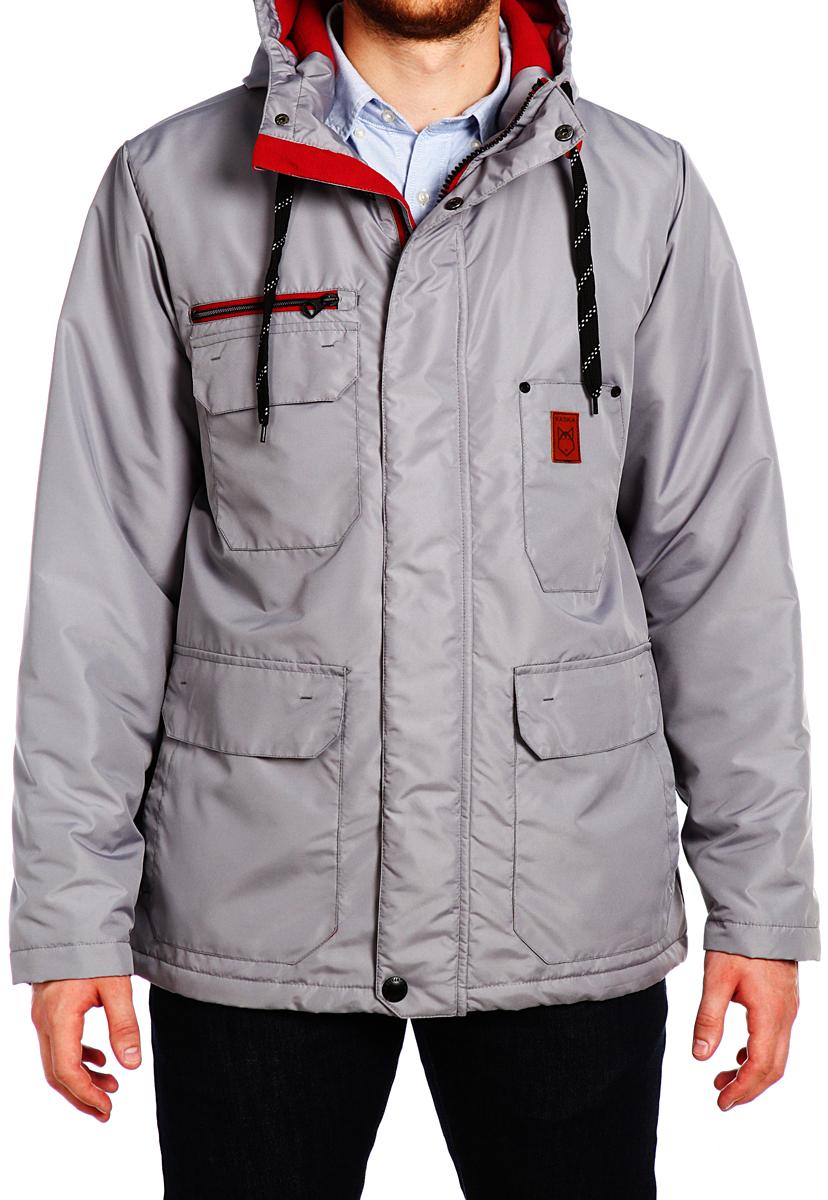 Куртка мужская Xaska, цвет: светло-серый. 15508. Размер 4815508_SiltstoneКуртка средней длины на утеплителе. Капюшон не отстегивается.