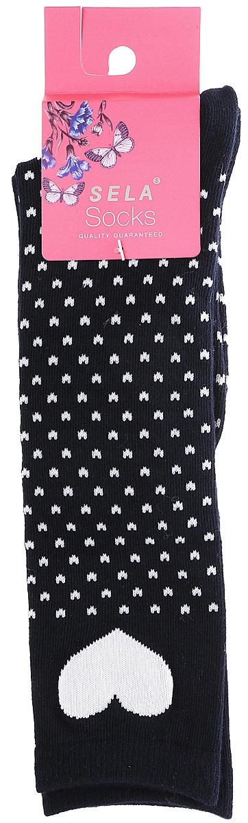Гольфы для девочек Sela, цвет: черный. SOKL-4/190-7311. Размер 18/20SOKL-4/190-7311