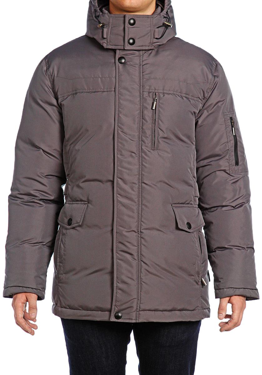 Пуховик мужской Xaska, цвет: темно-сеpый. 15208. Размер 5215208_Dark greyКуртка пуховая удлиненная. Капюшон отстегивается (на молнии). Регулировка по низу куртки.
