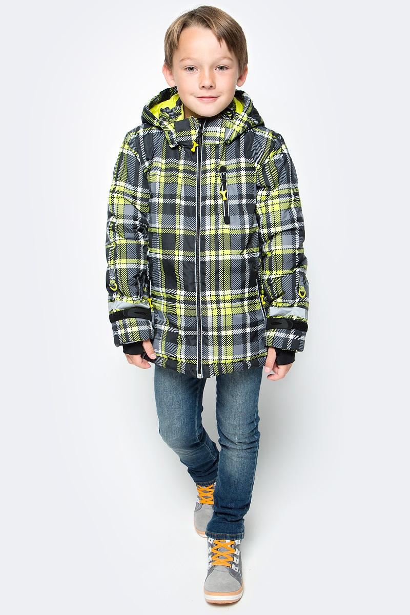 Куртка для мальчика PlayToday, цвет: серый, желтый. 370001. Размер 128370001Теплая куртка PlayToday отлично подойдет для катания со снежных гор! Модель из ткани с водоотталкивающей пропиткой. Капюшон на кнопках, по контуру дополнен регулируемым шнуром-кулиской. Специальные плотные манжеты с отверстием для большого пальца предохраняют от попадания снега. Куртка со снегозащитной юбкой. Подкладка из теплого флиса. Рукава дополнены специальными кольцами для перчаток, предусмотрен вшивной карман для Ski Pass. Светоотражающие элементы позволят видеть ребенка в темное время суток. Застежки для манжет из плотного силикона для дополнительного сохранения тепла.