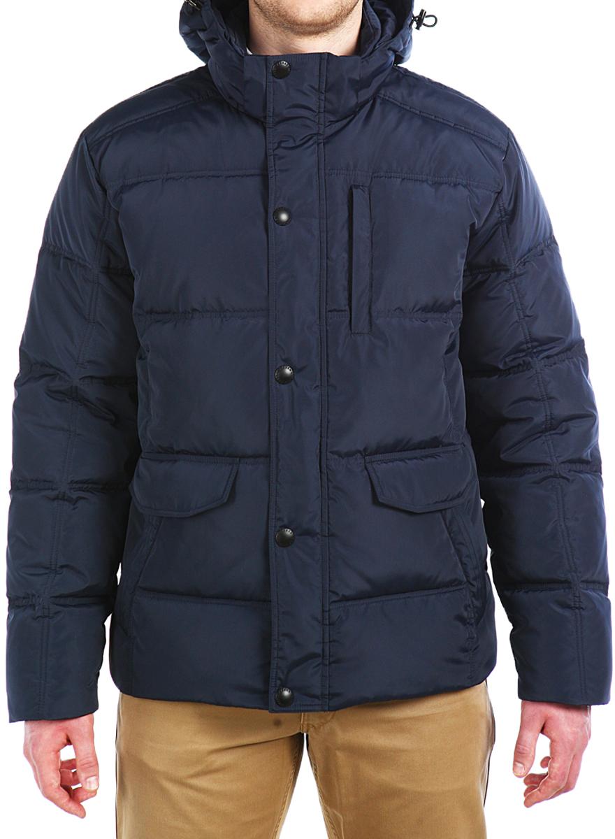 Пуховик мужской Xaska, цвет: темно-синий. 16615. Размер 5616615_NavyКуртка пуховая средней длины. Капюшон отстегивается (на молнии). Регулировка по низу куртки.