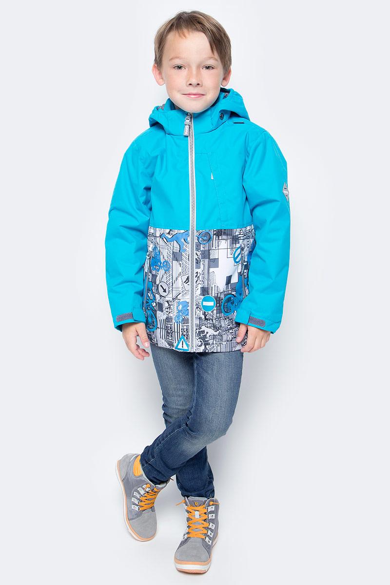 Куртка для мальчика Huppa Trevor, цвет: белый, голубой. 17660004-70146. Размер 12217660004-70146Куртка для мальчика Huppa Trevor c длинными рукавами, воротником-стойкой и съемным капюшоном на кнопках и липучках выполнена из высококачественного водонепроницаемого и ветрозащитного материала на основе полиэстера. Наполнитель - синтепон. Модель застегивается на застежку-молнию с защитой подбородка спереди. Изделие имеет два прорезных кармана на застежках-молниях и нагрудный карман на застежке-молнии, дополненный узким клапаном. Манжеты рукавов дополнены хлястиками на липучках. Объем низа куртки регулируется при помощи шнурка-кулиски. Куртка дополнена светоотражающими элементами, все швы проклеены. Модель украшена оригинальным контрастным принтом. Вес наполнителя - 40 г.