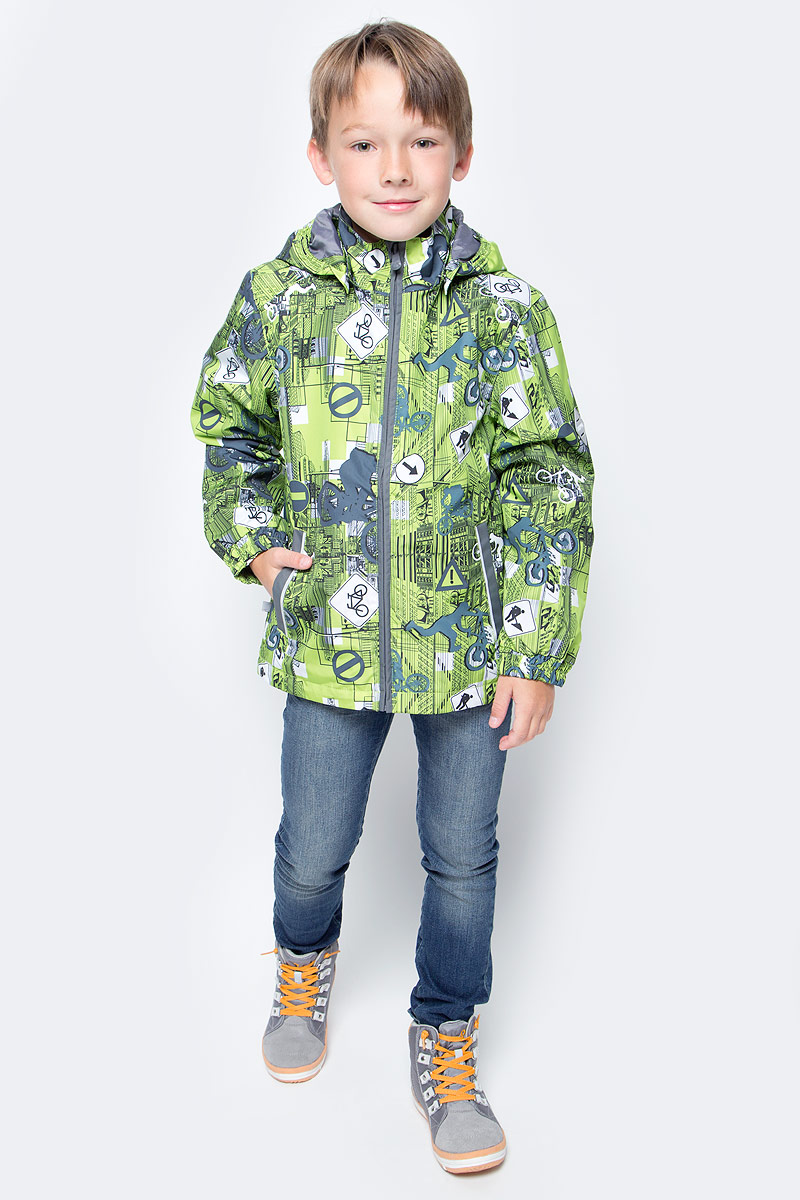 Куртка для мальчика Huppa Jody, цвет: лайм, серый. 17000004-72247. Размер 11017000004-72247Куртка с подкладкой для мальчика Huppa c длинными рукавами, воротником-стойкой и съемным капюшоном, выполнена из высококачественного водонепроницаемого и ветрозащитного материала на основе полиэстера. Модель застегивается на застежку-молнию с защитой подбородка спереди. Изделие имеет два прорезных кармана на застежках-молниях. Манжеты рукавов собраны на внутренние резинки. Модель оформлена оригинальным контрастным принтом. На изделии имеются светоотражательные элементы для безопасности в темное время суток.