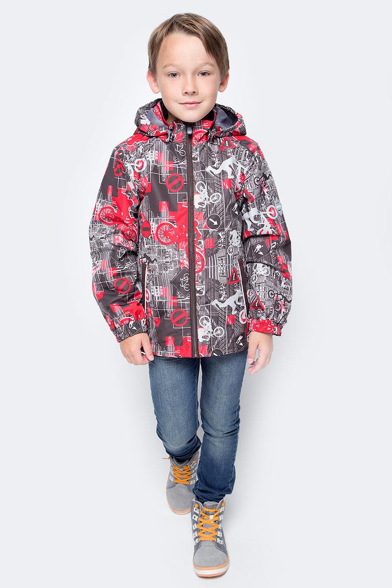 Куртка для мальчика Huppa Jody, цвет: красный, серый, белый. 17000004-72281. Размер 14017000004-72281Куртка с подкладкой для мальчика Huppa c длинными рукавами, воротником-стойкой и съемным капюшоном, выполнена из высококачественного водонепроницаемого и ветрозащитного материала на основе полиэстера. Модель застегивается на застежку-молнию с защитой подбородка спереди. Изделие имеет два прорезных кармана на застежках-молниях. Манжеты рукавов собраны на внутренние резинки. Модель оформлена оригинальным контрастным принтом. На изделии имеются светоотражательные элементы для безопасности в темное время суток.