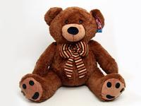 Купить Мягкая игрушка Magic Bear Toys Медведь с бантом , цвет: коричневый, 75 см