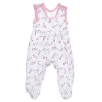 Купить Ползунки с грудкой Трон-плюс, цвет: белый, розовый, рисунок жирафа. 5237. Размер 56, 1 месяц, Одежда для новорожденных