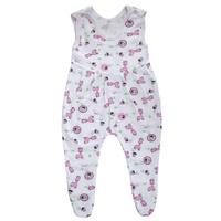 Купить Ползунки с грудкой Трон-плюс, цвет: белый, розовый, рисунок жирафы. 5221. Размер 68, 6 месяцев, Одежда для новорожденных