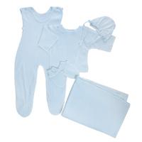 Купить Комплект для новорожденного Трон-Плюс, 5 предметов, цвет: голубой. 7127. Размер 56, 1 месяц, Трон-плюс, Одежда для новорожденных