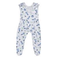 Купить Ползунки с грудкой Трон-плюс, цвет: белый, голубой, рисунок жирафы. 5221. Размер 68, 6 месяцев, Одежда для новорожденных