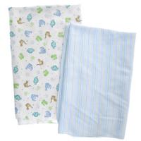 Купить Набор пеленок Spasilk Дино , для мальчика, цвет: голубой, 76 см х 101 см, 2 шт