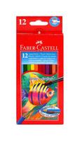 Купить Акварельные карандаши COLOUR PENCILS с кисточкой, набор цветов, в картонной коробке, 12 шт., Faber-Castell