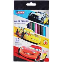 Купить Набор карандашей Cars Карандаши цветные Cars , трехгранные, 12 цветов