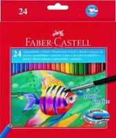Купить Акварельные карандаши COLOUR PENCILS с кисточкой, набор цветов, в картонной коробке, 24 шт., Faber-Castell