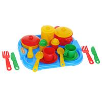 Купить Набор детской посуды Полесье Настенька , цвет: голубой, красный, желтый, зеленый, 19 предметов
