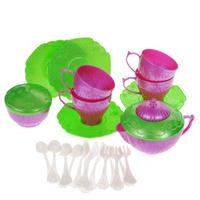 Купить Набор детской посуды Чайный сервиз Волшебная Хозяюшка , 22 предмета, цвет: розовый, зеленый, Нордпласт