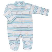 Купить Комбинезон детский Трон-плюс, цвет: белый, голубой. 5815_мишка, полоска. Размер 74, 9 месяцев, Одежда для новорожденных