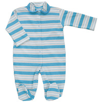 Купить Комбинезон детский Трон-плюс, цвет: голубой, белый, светло-бежевый. 5815_полоска. Размер 74, 9 месяцев, Одежда для новорожденных
