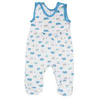 Купить Ползунки с грудкой для мальчика Трон-плюс, цвет: белый, голубой. 5247_машинки. Размер 68, 6 месяцев, Одежда для новорожденных