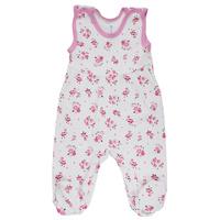 Купить Ползунки с грудкой для девочки Трон-плюс, цвет: белый, розовый. 5247_цветы. Размер 80, 12 месяцев, Одежда для новорожденных