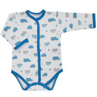 Купить Боди для мальчика Трон-плюс, цвет: белый, голубой. 5878_машинки. Размер 74, 9 месяцев, Одежда для новорожденных